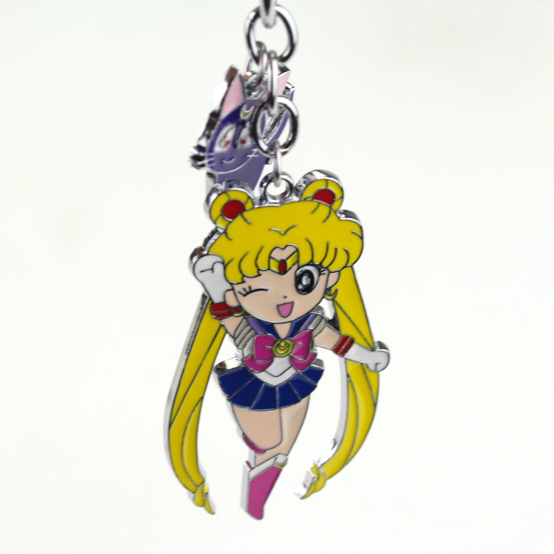 Kawaii Cartoon Sailor Moon Figure Pendant Keychains Women Girl Anime Fans Keyring Key Holder Souvenir Key Chain cosplay props
