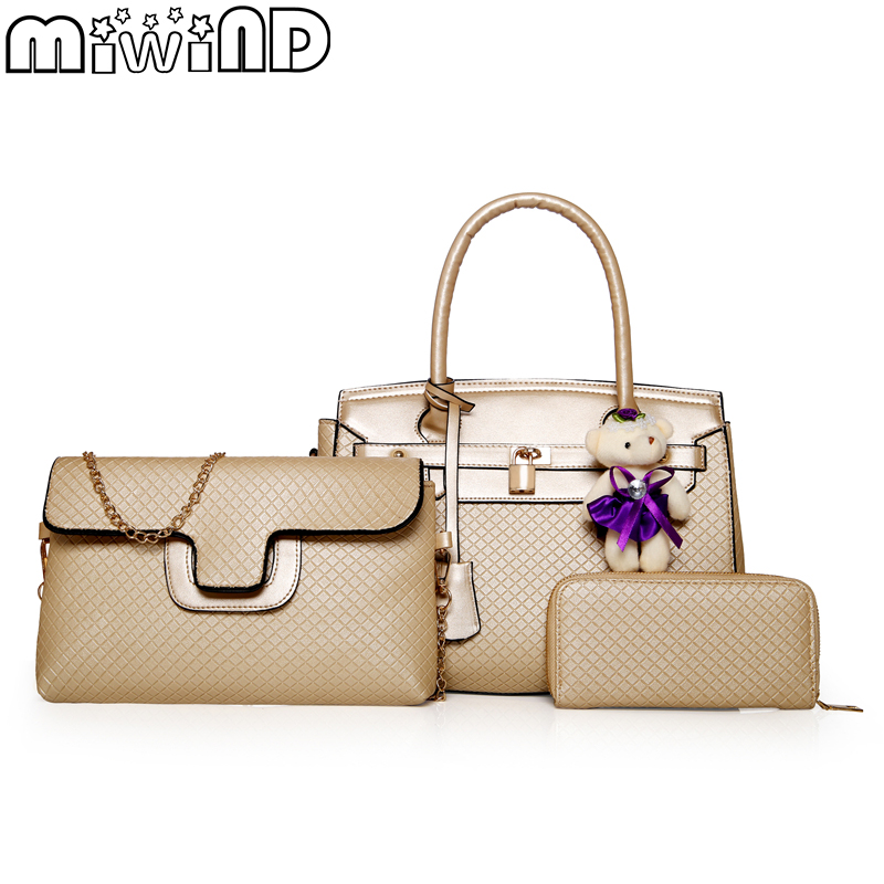 Women Bags Handbags Shoulder Bag For Female High Quality Luxury Leather Best Texture Fashion elegant 3-Piece Set MIWIND 2018 New miwind 2017 new women handbag pu leather female bags fashion shoulder bag high quality 6 piece set designer brand bolsa feminina