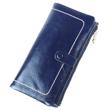 Fashion mini Simple leisure genuine leather long wallet All-match solid color wallet women much Card holder Lady Purse