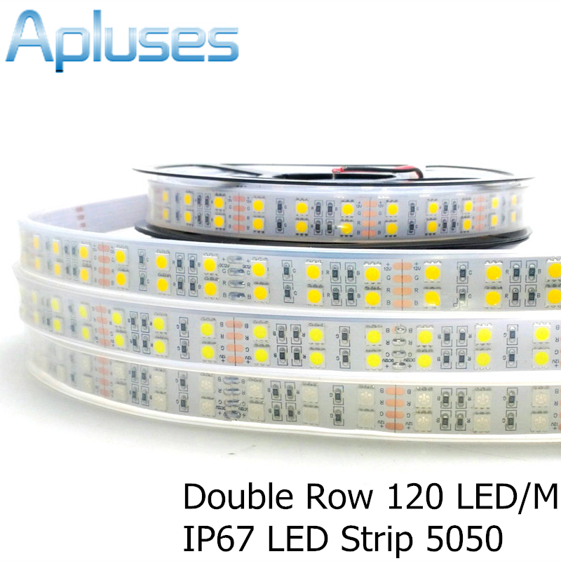 120 LEDer / m LED Strip 5050 DC12V høy kvalitet Fleksibel LED Lys Double Row 5050 LED Strip 5m / masse for hjemmedekorasjon