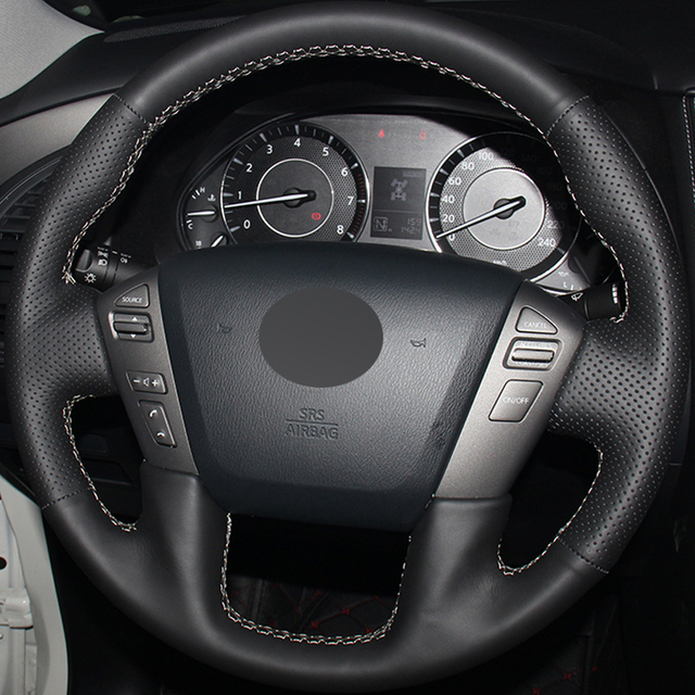 Black Leather Hand Stitched Car Steering Wheel Cover For Nissan