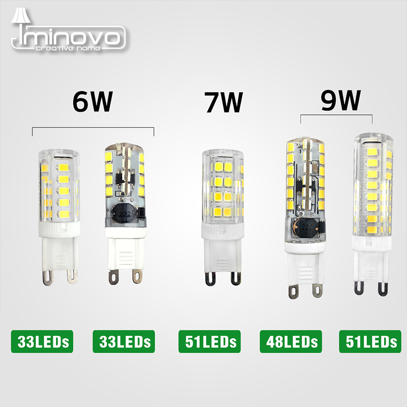 IMINOVO G9 LED Light Bulb AC 110V 220V 2835 6W 7W 9W Corn Bulbs Replace Halogen Chandelier Lamp Corn Bulbs Crystal Silicone energy efficient 7w e27 3014smd 72led corn bulbs led lamps