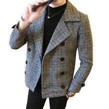 Для мужчин осень зима новый британский стиль мода решетки толще двубортный шерстяное пальто короткий параграф предупредить тонкий куртк