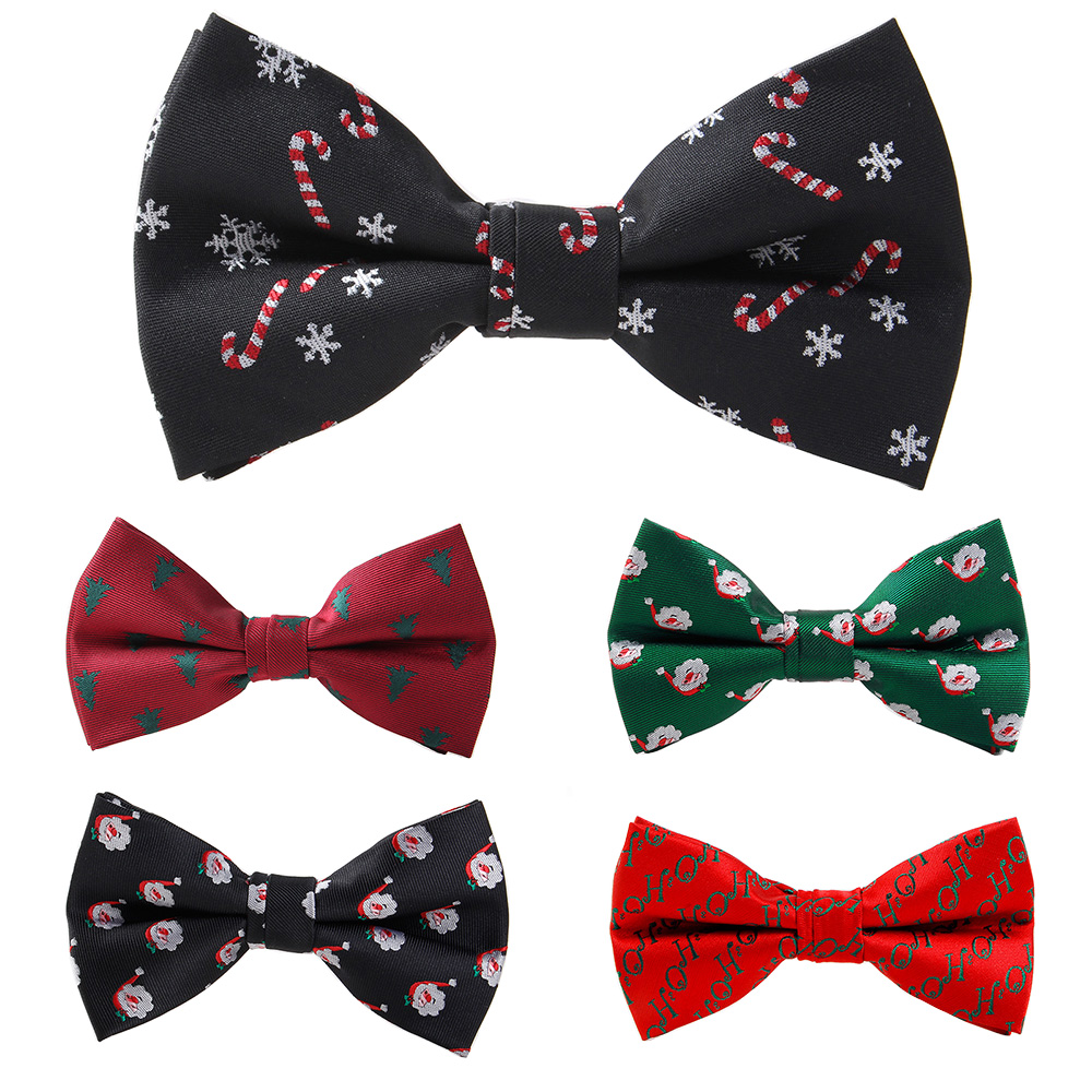 RBOCOTT Christmas Bow Tie Men's Fashion Black Bowtie Red For Festival Green Tree Santa Claus Snowflake Bow Ties For Accessories