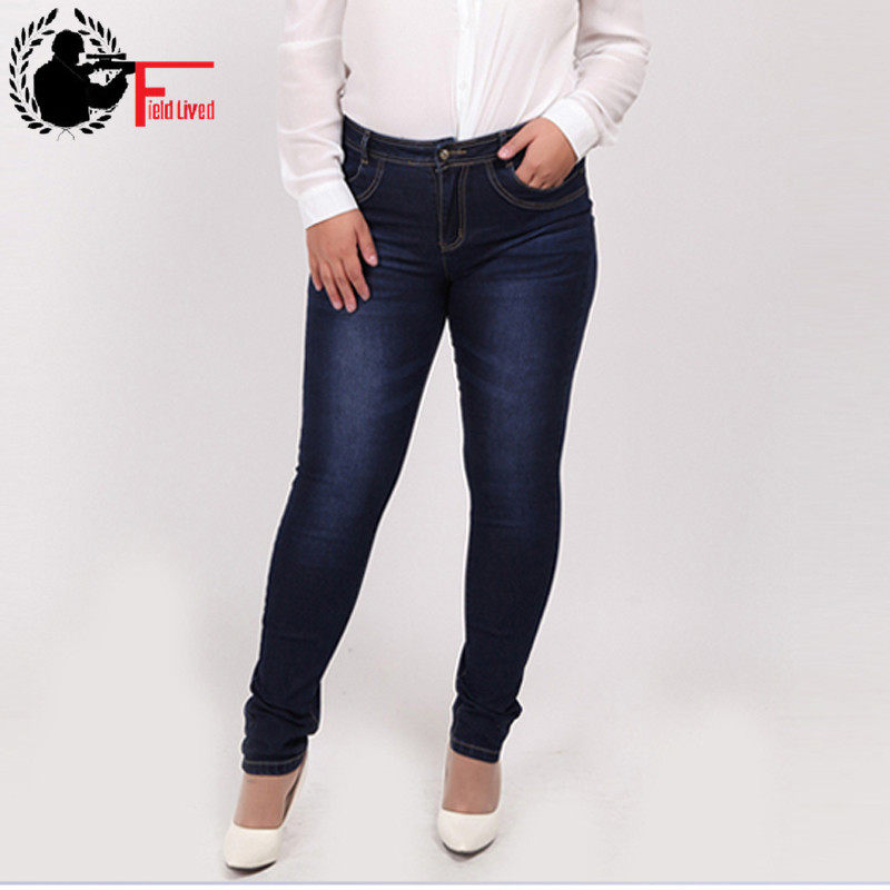 5e7f1094572 WOMEN JEANS 2019 Fashion High Waist Casual Denim skinny Pant Femme Pencil  Jeans Trousers Female XL