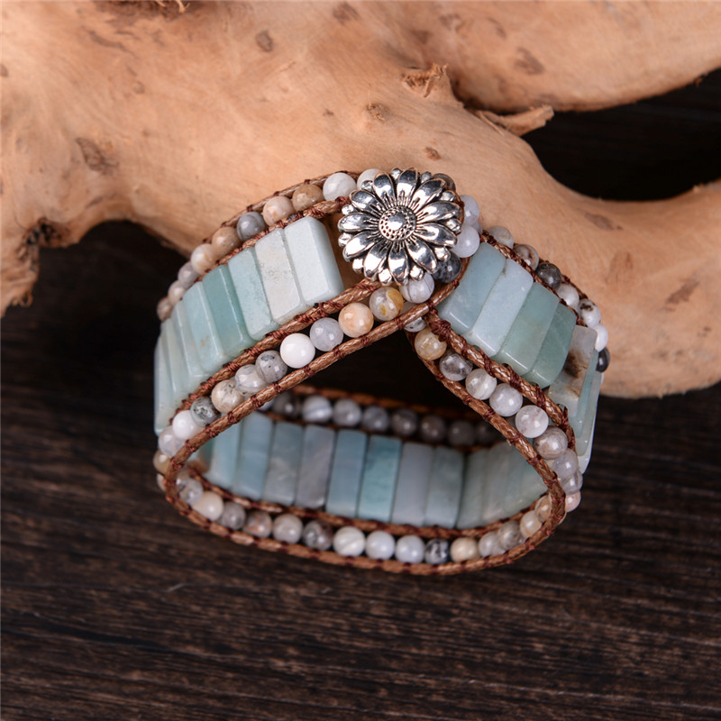 Bohemia Bracelet Amazonite Single Vintage Leather Wrap Bracelet Semi Precious Stone Beaded Cuff Bracelet Women's Gift artificial turquoise triangle cuff bracelet