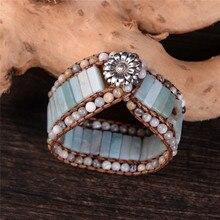 Bohemia Браслет Амазонит один винтажный кожаный браслет полудрагоценный камень Браслет-манжета, украшенный бисером женский подарок