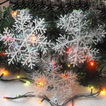 2pcs/lot Creative White Plastic Snowflake Hanging Accessories Christmas Tree Ornaments Home Window XMAS Party Decoration image