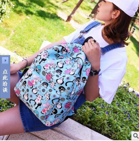 AIBKHK WomenCanvas Backpacks Printing School Bag For Teenagers Girls Shoulder Bag Mochila Travel Backpack