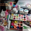 2018 set completo polvo acrílico uv gel kit francés consejos brush pen 36 w lámpara uv nail art diy manicura kit