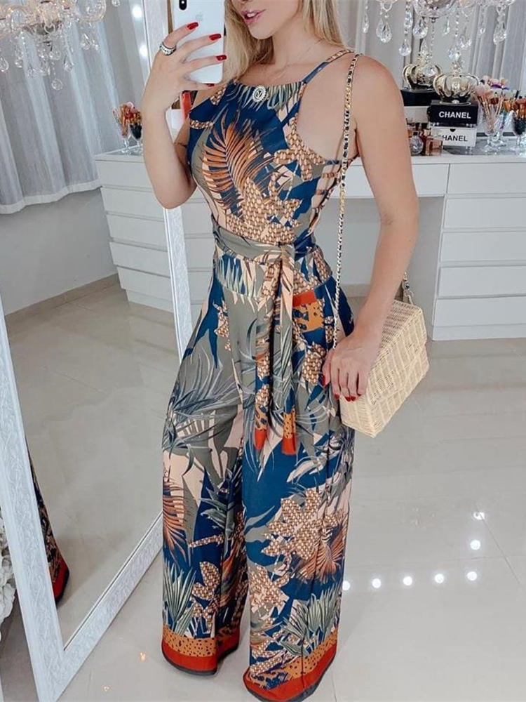 Summer Women Elegant Vacation Sexy V-Neck Casual Romper Female Wide Leg Overalls Tropical Print Spaghetti Strap   Jumpsuit