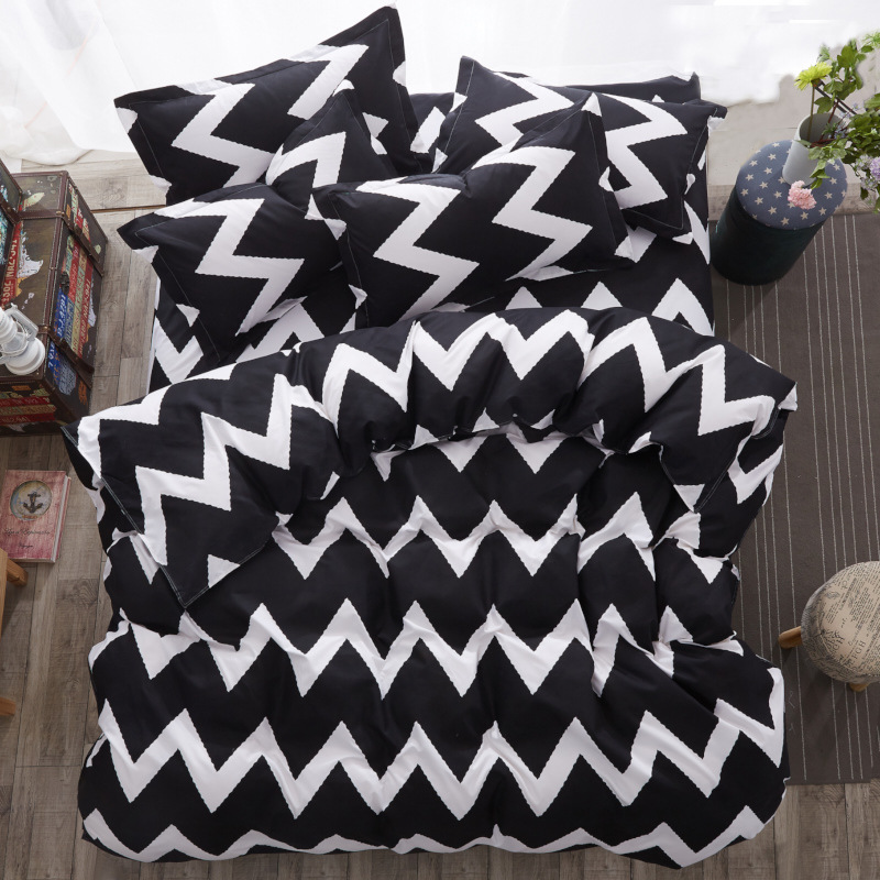 Nordic Classics Geometric Black White Striped Home Decorate Fitted Sheet AB Double-sided Home Textile Duvet Cover Set Dots 3/4pc