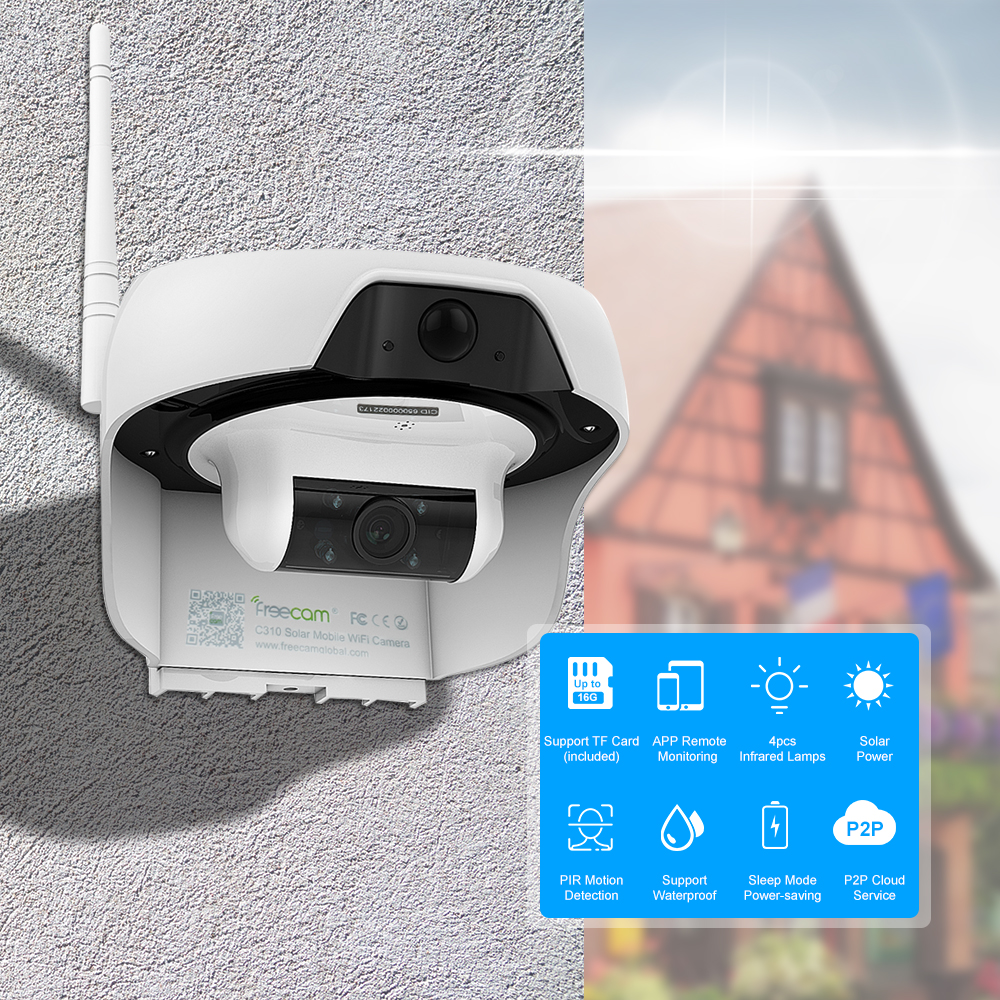 720P Solar Powered WiFi IP Camera Motion Activated Security Camera Support Cloud Storage Built in 16GB