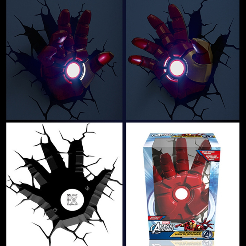 Avengers Alliance Hot Toys LED Iron Man Shape  3D Poster Wall Lamps Armor Figure Bedroom Night light