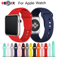 sports silicone for apple watch band 42mm 38mm 40mm 44mm smart watchbands wrist bracelet strap for i watch series 5 4 3 2 1 belt Sports Soft Silicone Band for Apple Watch 5 4 3 2 1 38MM 42MM Bands Rubber Watchband Strap for watch series 40mm 44mm Bracelet