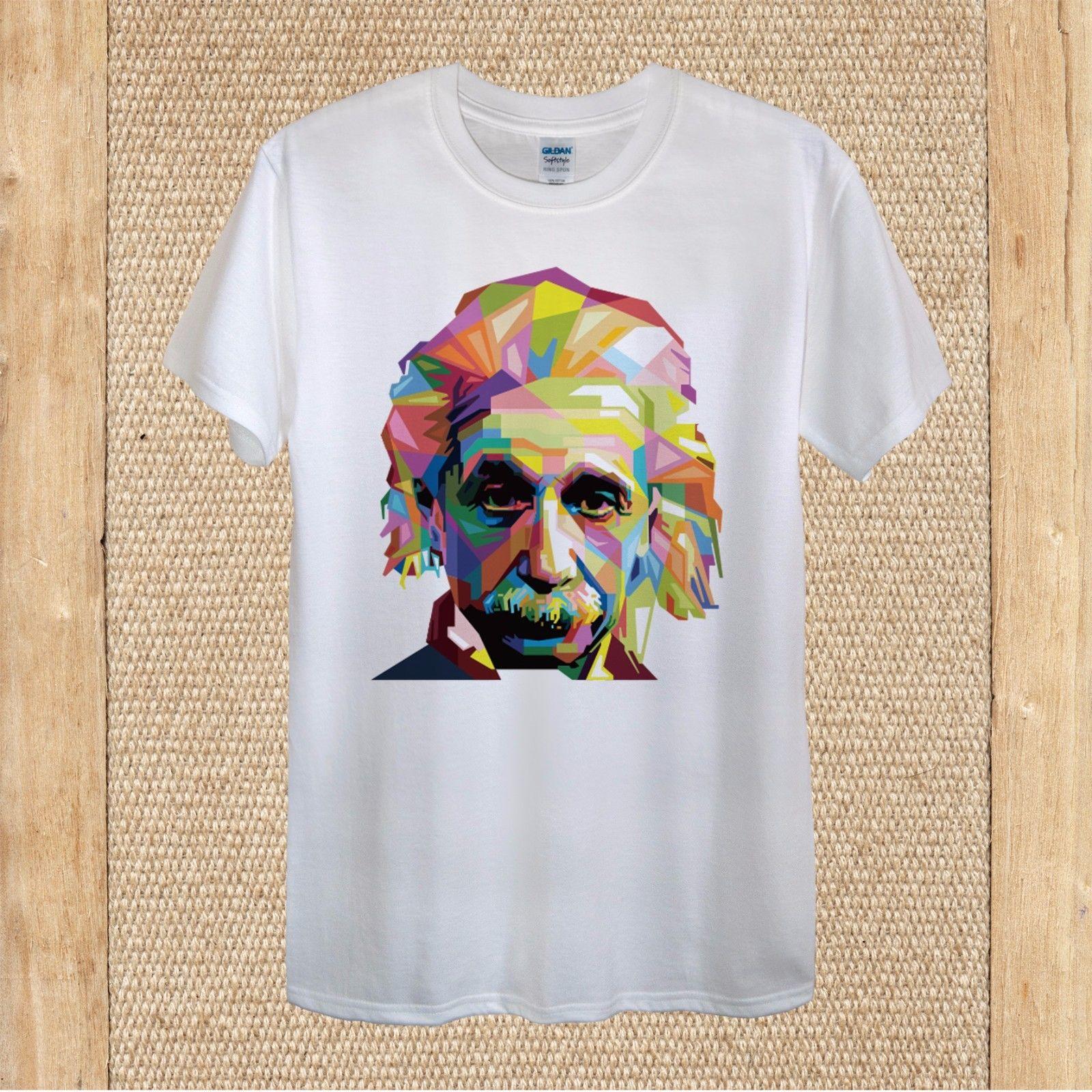 Albert Einstein Geometrical 100% Cotton unisex women Harajuku Tops t shirt Fashion Classic Unique free shipping