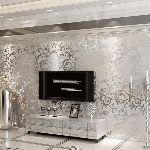 Non Woven European Wallpaper Flowers Embossed Wall Paper Silver Gold Living  Room Sofa Background Papel