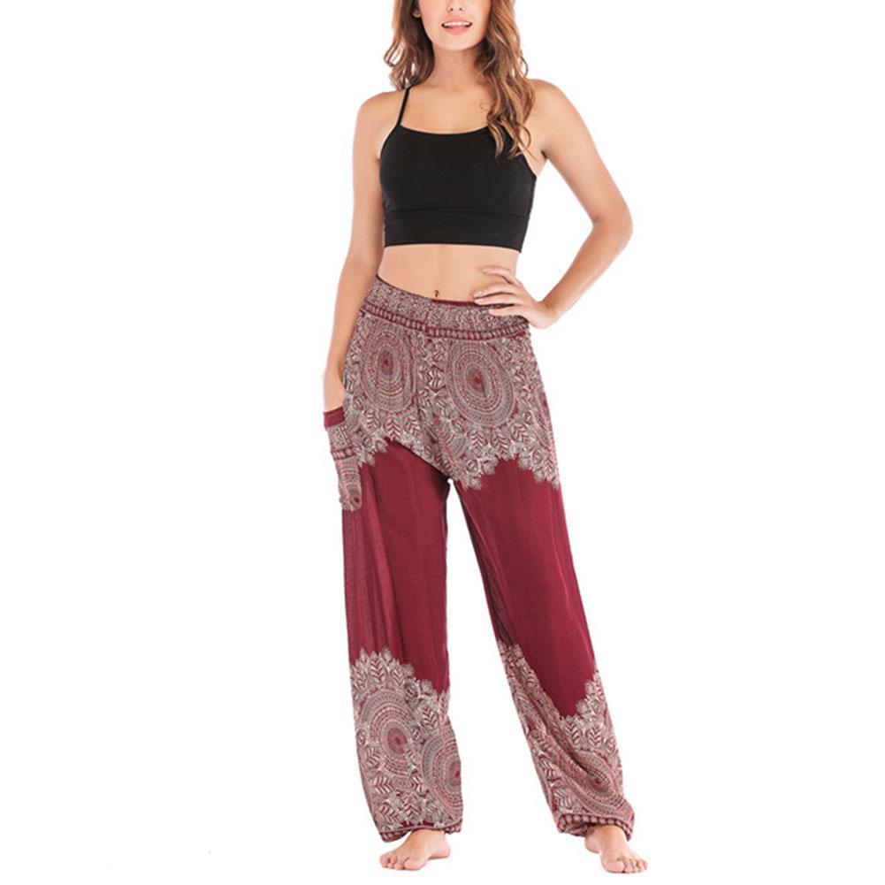 Yfashion Women Cotton Pants Summer High Waist Baggy Breathe Casual Pants Trousers