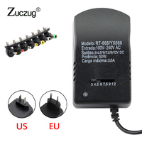 Universal AC DC 12V power adapter Supply Multi 3V 6V 9V 12V USB Power Supply Adapter 3 6 9 12 V Volt Converter 7 Plugs 3A 30W AC/DC Adapters Home Improvement -