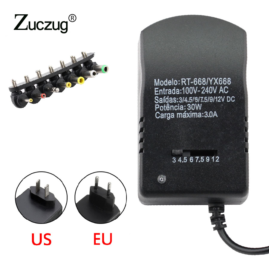 Universal <font><b>AC</b></font> <font><b>DC</b></font> 12V power adapter Supply Multi 3V 6V 9V 12V USB Power Supply Adapter <font><b>3</b></font> 6 9 12 <font><b>V</b></font> Volt Converter 7 Plugs 3A 30W image