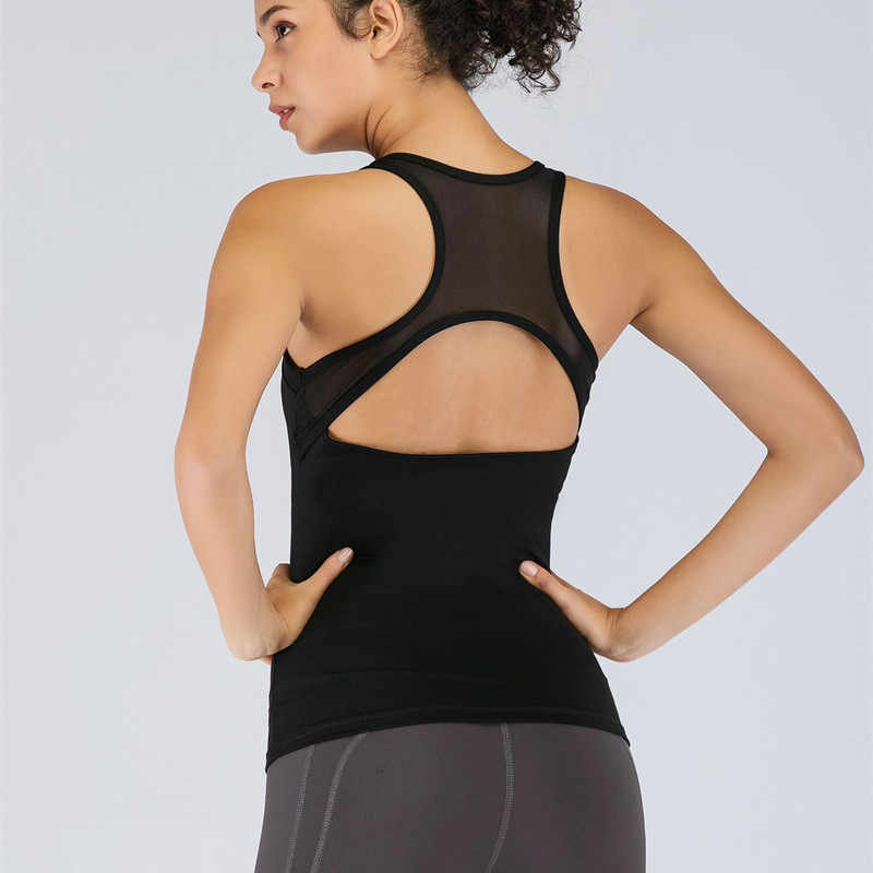 CretKoav 2019 الصيف جديد تنفس شبكة خليط سترة المرأة مثير عودة الجوف صدرية رياضة اليوجا عالية مرونة ضيق اللياقة البدنية تانك الأعلى