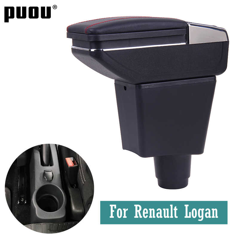 For Renault Logan central Store content Storage box Double layer armrest box with Ashtray Cup holder accessories Russian version