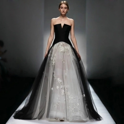 488e293bec69 Bridal Victorian Gothic Wedding Dresses 2017 Tulle Ball Gown Appliqued Black  Wedding Dress Gowns robe de mariage Cheap