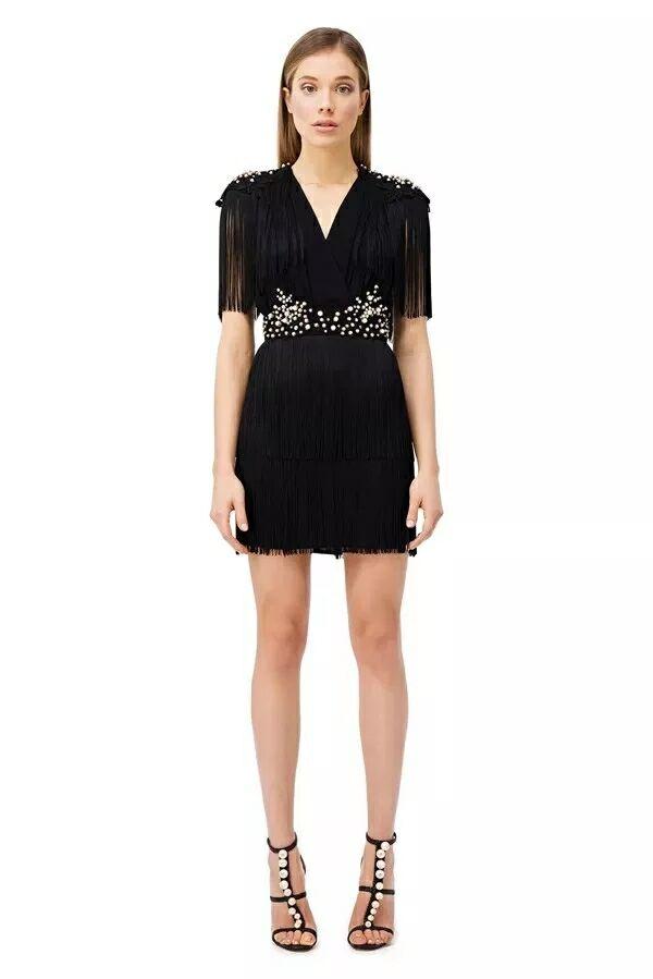 x071 mini ausschnitt party taille quaste v 2019 dress schwarz kleider sexy sommer backless frau hohe vPyn8mN0wO