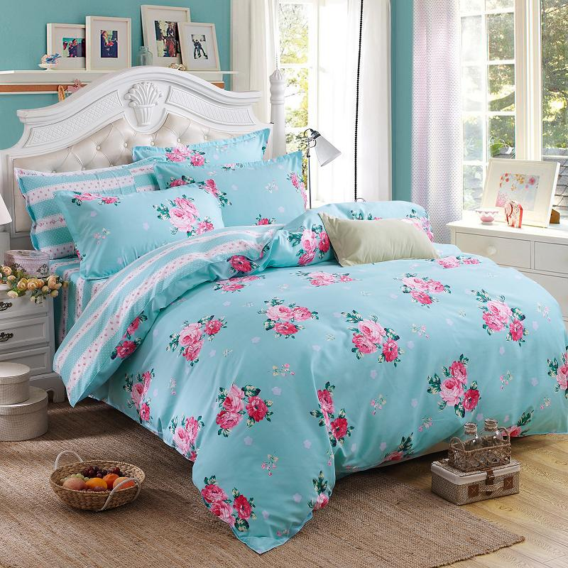Blue Pink Flower Ab Double Sided Modern Style Bedding Sets