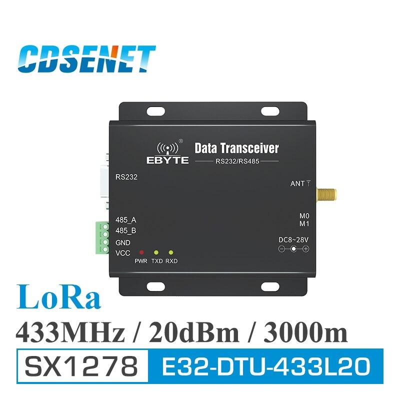 1 pc 433 MHz LoRa SX1278 RS485 RS232 rf DTU émetteur-récepteur E32-DTU-433L20 sans fil Module uhf 433 M rf émetteur et récepteur