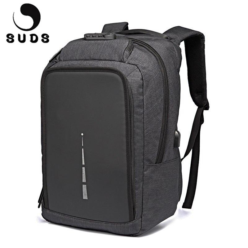 SUDS Casual Anti Theft Backpack Men Canvas Travel Laptop School Bags Backpack USB Charging Mens Backpacks Bolsa Mochila Large