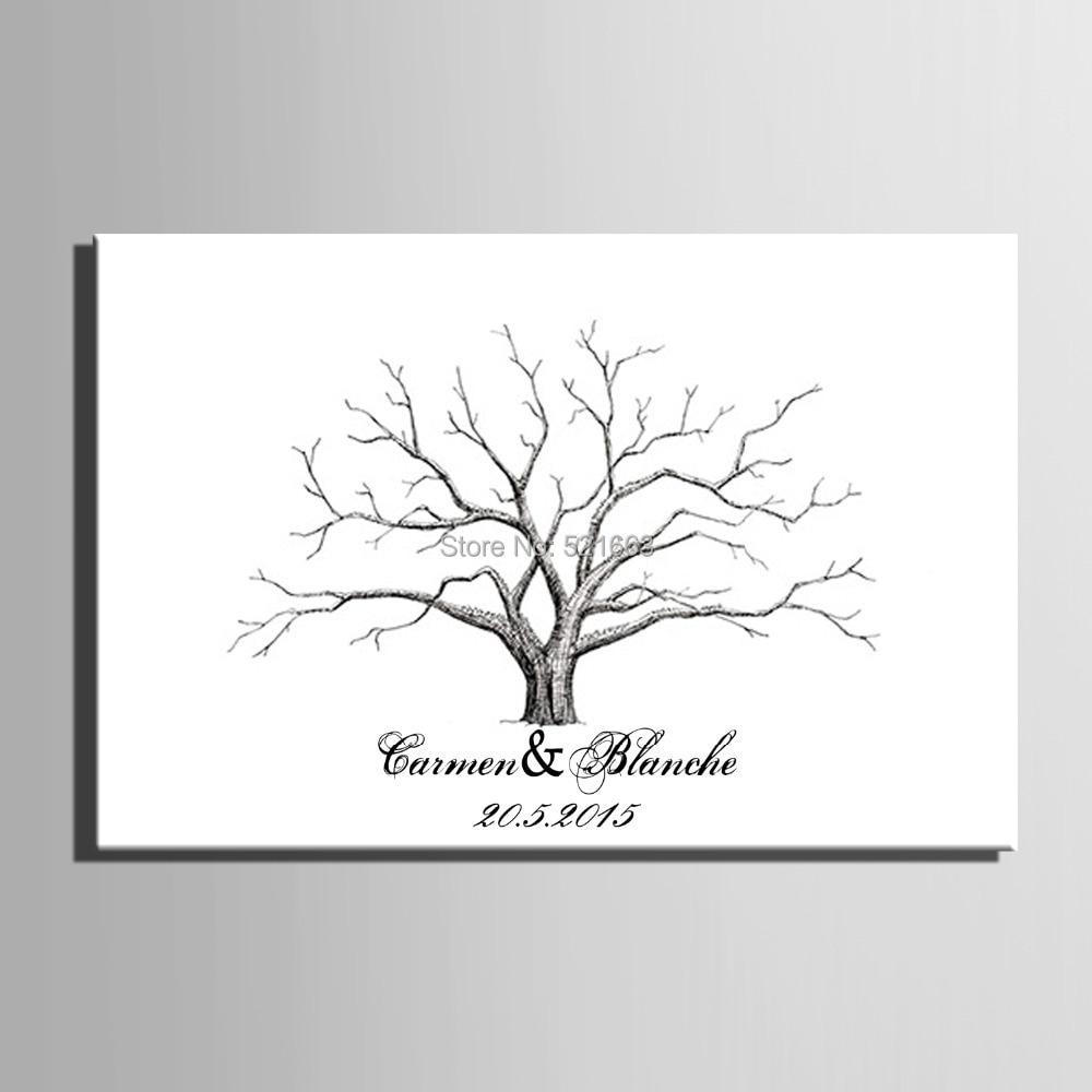 Jetzt Rabatt Fingerprint Unterschrift Leinwand Druck Hochzeit Baum