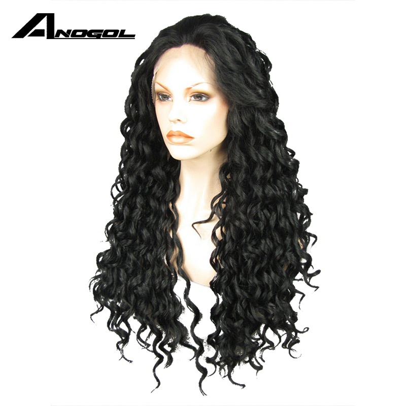 Anogol High Temperature Fiber Brazilian Hair Peruca Afro Full Black Long Deep Wave Synthetic Lace Front Wig For Women Cosplay
