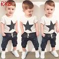 Summer Boys Clothes 2016 New Baby Boy Clothing Set Pattern Rabbit Toddler Boys Clothing Plaid Kids Clothes Children Clothing Set