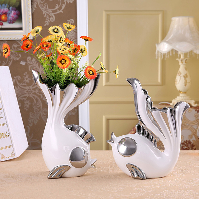Ceramics Kissing Fish Figurines Vases Porcelain Gift And Craft Decoration Accessories For Valentine S Day