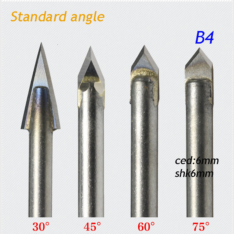 1pc standard 6*6mm 75 degree angle alloy Router Bits CNC engraving cutter Stone Carving Tools B4 huhao 1pc 6mm cnc router end mill diamond pcd tools stone hard granite cutting engraving bits 30 35 40 45 degree pcd cutter