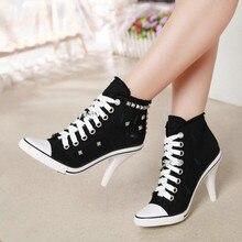 Women Canvas Shoes Denim High Heels Rivets Shoes