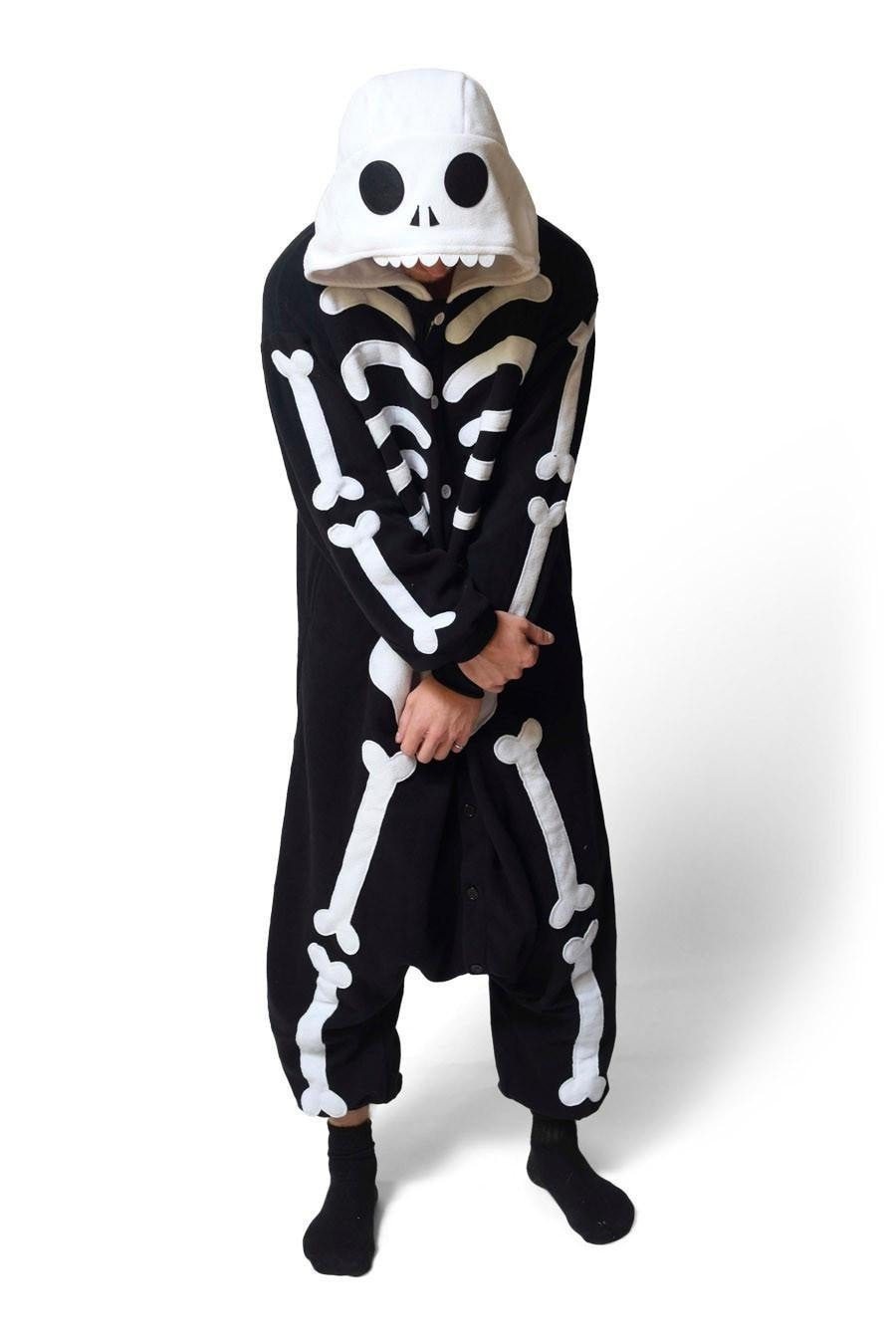 Unisex Fleece Adult Skeleton Onesies Animal Cosplay Costume Halloween Xmas Pajama