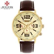 Julius homme relógio de pulso horas moda vestido esporte dos homens retro pulseira de couro estudante menino presente de aniversário do pai natal