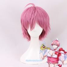 2018 Saki Uno Cosplay Wig Mahou Shoujo Girl Ore Magical Twin Pink Short