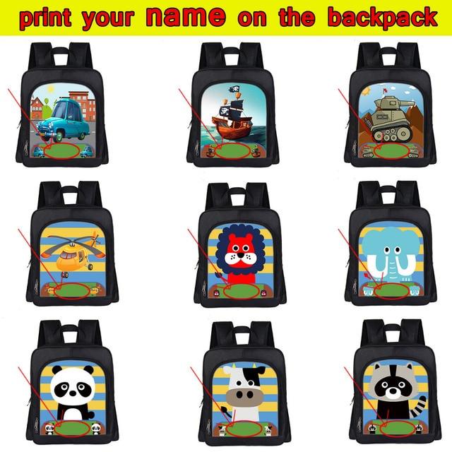 dcbcf2f7f5 Customize Your Name   Logo Bag Cartoon Car   Boat   Animal Kindergarten  Backpack Kawaii Puppy Children School Bags Kids Book Bag