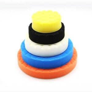 Image 3 - Almohadilla de esponja de pulido para coche, almohadillas de pulido de pintura, cepillo de limpieza, pulidor, 75, 100, 125, 150, 180mm, con almohadilla adhesiva, 5 uds.