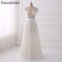 Sexy Illusion A Line Wedding Dresses 2018 Erosebridal Chiffon Wedding Dress Plus Size Bridal Gown Sweep
