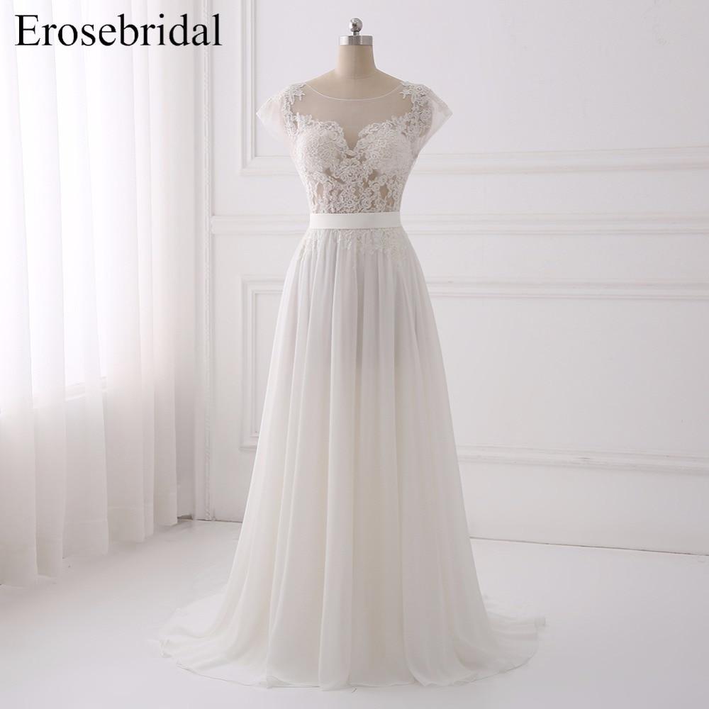 Sexy Illusion A Line Wedding Dresses 2019 Erosebridal Chiffon Wedding Dress Plus Size Bridal Gown Sweep Train Vestido De Noiva