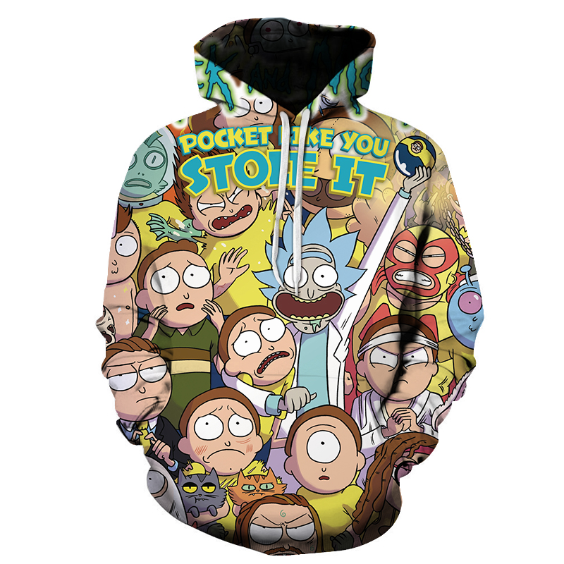 2018 New 3D Sweatshirts Cartoon Anime Men/Women Hat Funny Print Rick Morty Crazy Scientist Winter Loose Thin Hooded Hoody Tops