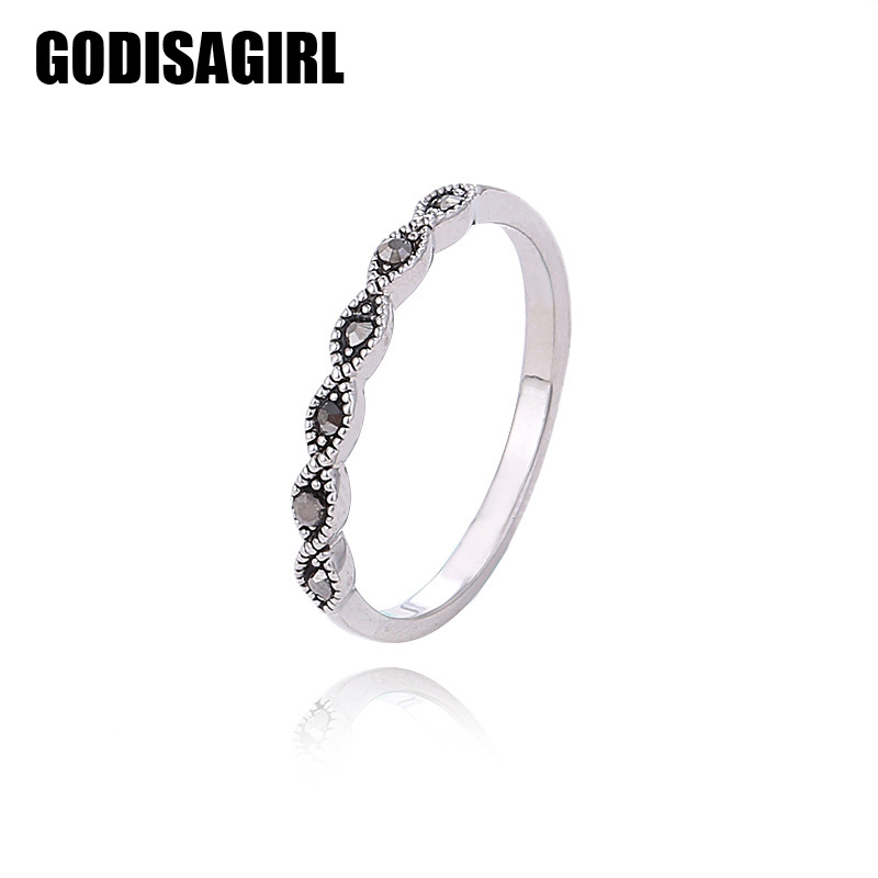 Fashion High Quality Vintage Jewelry Antique Silver Color Black Multicolor Crystal Rings For Women