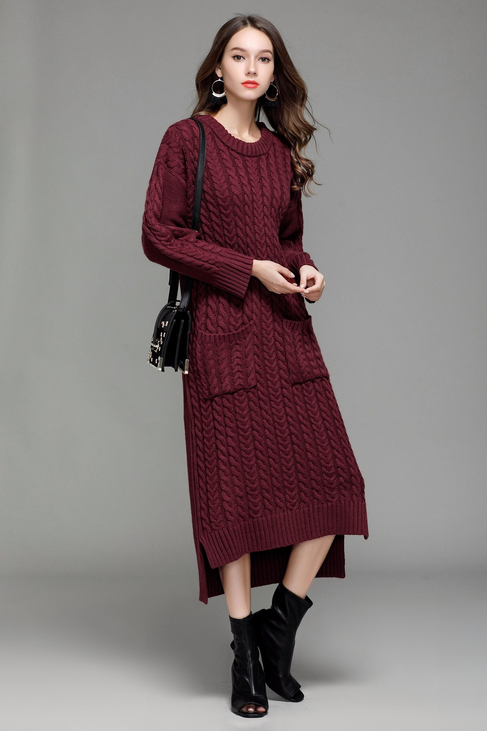 2018 Autumn Winter Women Warm Sweater Dress Pull Hiver O Neck Long Sleeve Twist Flowers Knitted Dress Ropa Invierno Mujer