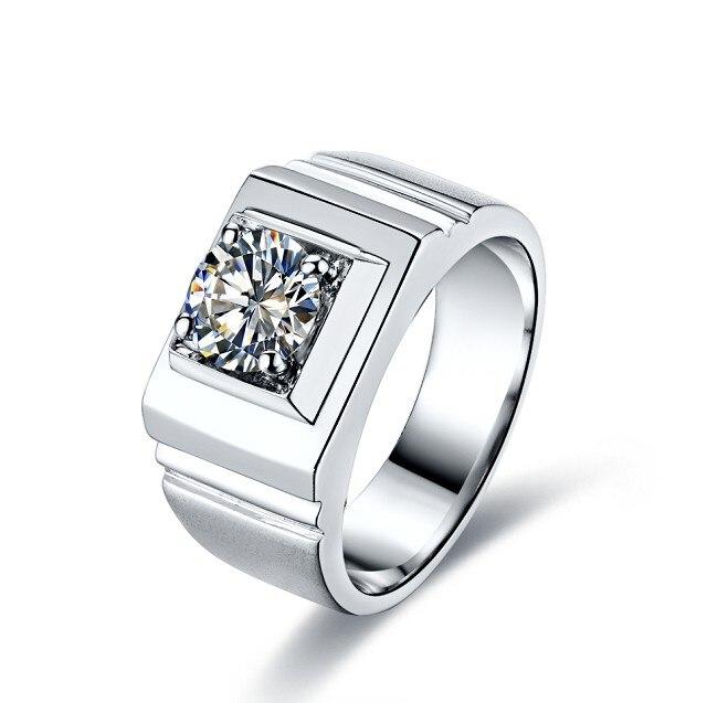 Top Quality Solid 14Karat White Gold Man Ring 1CT Moissanite Males