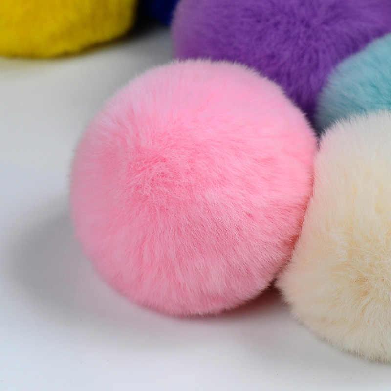 8 CM Fluffy Pompons Da Corrente Chave Chaveiro Chaveiro Pompom Pele Real de Pele de Coelho Mulheres Saco Chave Do Carro Chaveiro Anel Titular chaveiro Llavero