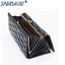Genuine Leather Women Wallet Cowhide Purse Women Long Plaid Wallets Brand Designer Zipper Hasp Clutch Wallet Female Card Holder